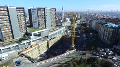 General Aerial View Of Subway Construction with a Crane Near to House Estate Stock Footage