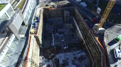 Aerial Footage Going Through a Subway Ground Construction Stock Footage