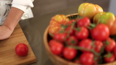 Tomato Cutting in Kitchen Stock Footage