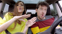 Funny people dancing sinc in car having fun slow motion while driving Stock Footage