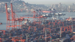 Cargo ships are loaded at the container terminal in Busan, South Korea - stock footage