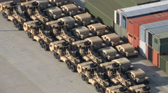 Armored military vehicles parked in the harbor of Busan, South Korea Stock Footage