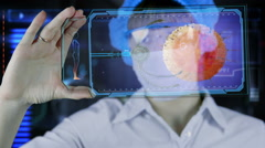 Doctor with futuristic hud screen tablet. Nano robot ovule to egg cell. Future Stock Footage