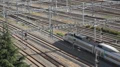Transportation in South Korea, a modern high speed bullet train Stock Footage