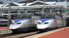 High speed bullet trains at the station in Busan, South Korea Stock Footage