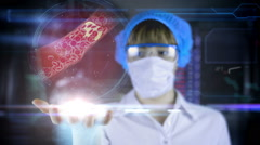 Stock Video Footage of Doctor with futuristic hud screen tablet. Clogged Artery cholesterol plaque.