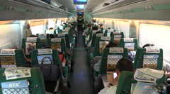 High speed railway service in South Korea, interior view of carriage Stock Footage