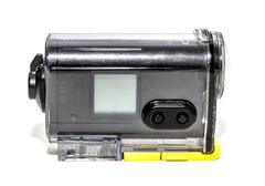 Stock Photo of action camera, waterproof white background