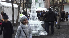 Eiffel Tower Ice Sculpture at Icefest 2016, Toronto Stock Footage