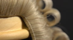 Lawyer's Wig Turning CU Stock Footage