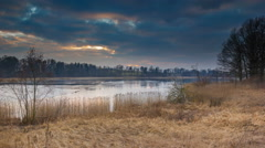 4k timelapse of evening near spring lake. Stock Footage
