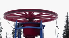 Wheel for return the surface lift in the top of the mountain. T-bar system. Stock Footage