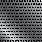 Steel background with seamless circle perforated carbon texture background. - stock illustration