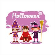 Flat Halloween kids Stock Illustration