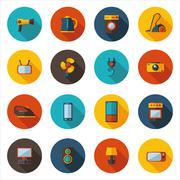 set of flat icons for household appliances - stock illustration