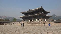 Royal palace of Gyeongbokgung, a popular tourist attraction in South Korea Stock Footage