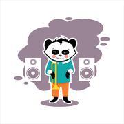 best flat music panda - stock illustration
