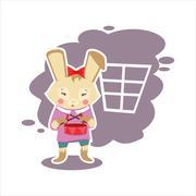 flat music rabbit - stock illustration