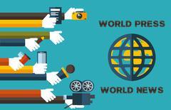 world press-world news - stock illustration