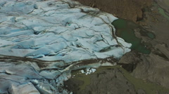 Davidson Glacier Aerial Over the Nose Looking Down 4K Stock Footage