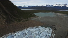 Hovering over Davidson Glacier Nose looking Out to Sea 4K Stock Footage