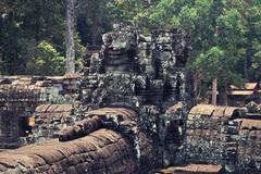 Cambodia & Stone Heads Stock Photos