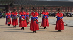 Traditional brass band, guard changing ceremony, royal palace, South Korea Stock Footage