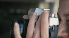 Cute Girl shoots Photography with Antique Camera Stock Footage