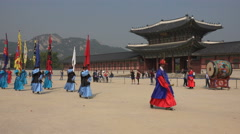 South Korea tourism, cultural performance, changing of the royal guards ceremony Stock Footage