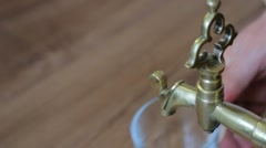 old brass faucet - stock footage
