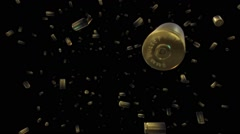 Falling 9mm Bullet Cases - stock footage