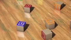 Alphabet Blocks On Wooden Surface Stock Footage
