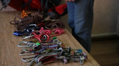 Equipment in backpack Stock Footage