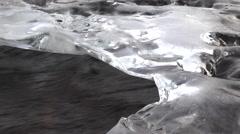 Rushing Water Under Ice Shelf Slide Left 4K Stock Footage