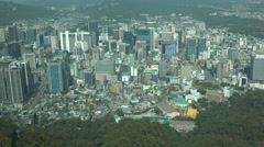 View of downtown Seoul, business district, corporate, commercial, South Korea Stock Footage
