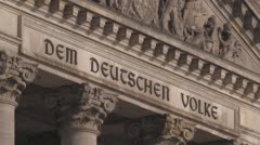 Berlin German Parliament Reichstag Fassade Stock Footage