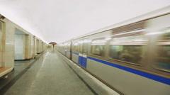 Train Departs in the Tunnel Baumanskaya Metro Underground Station Stock Footage
