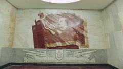 Lenin Mosaic on the Wall Baumanskaya Metro Underground Station Stock Footage