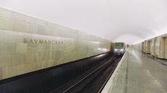 Modern Train Pulls Into the Station Baumanskaya Metro Underground Station Stock Footage