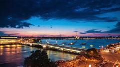 Raised Palace Bridge At Night In Saint-Petersburg Stock Footage