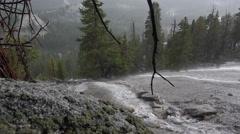 Rain Hailstorm Bad Weather Granite Dome Pan 4K Stock Footage