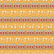 Seamless pattern in a flat style with blood test tube - stock illustration