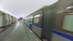 Modern Train Passes by Baumanskaya Metro Underground Station Stock Footage
