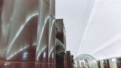 Soviet Bronze Monument Baumanskaya Metro Underground Station Stock Footage