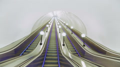 Modern Escalator Baumanskaya Metro Underground Station Stock Footage