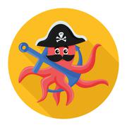 flat icon octopus pirate - stock illustration