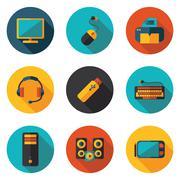 computer flat icons - stock illustration