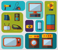 set of flat icons for household appliances - stock illustration