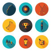 Flat icons archery Stock Illustration