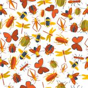 Insects seamless pattern Stock Illustration